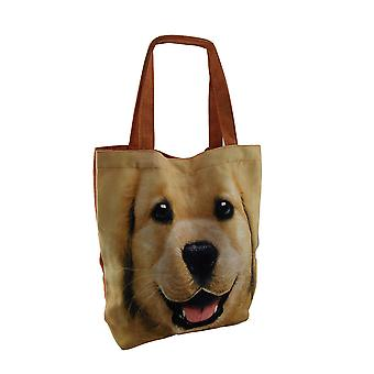Happy Dog Large Yellow Lab Face Canvas Tote Bag