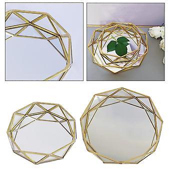 Luxueux scandinave motif géométrique miroir verre métal rangement et plateau organisateur (L