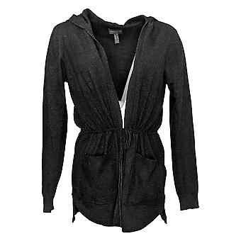ModernSoul Women's Sweater Spacedye Tie-Front Cardigan Black 681524