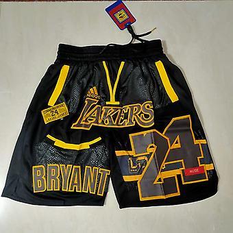 Lakers Big Embroidered Basketball Pants Retro Mesh Shorts Mens Basketball Shorts Outdoor Sport Sandbeach Pants Stitched