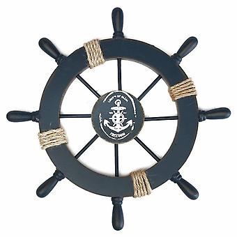 Wooden Ship Wheel Nautical Boat Ship Wheel Wall Decor Dark Blue