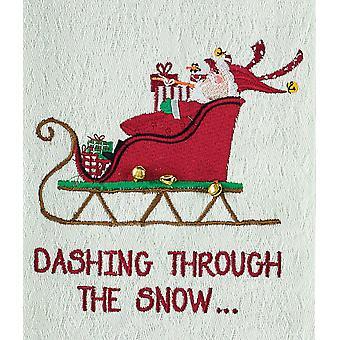 KÄCK genom snön Santas släde broderad kökshandduk maträtt