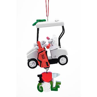 Golf Cart I Heart Golf Christmas Holiday Ornament 4.5 Inches