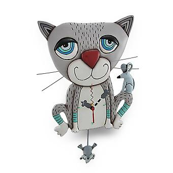 Allen Designs Mouser Whimsical Gray Cat Pendulum Wall Clock
