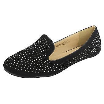 Ladies Spot On Flat Slipper Cut Ballerina Shoe with Diamante Upper