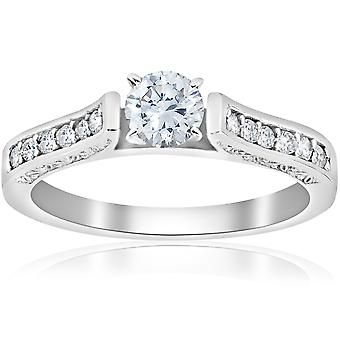 1/2ct Antique Cathedral Diamond Engagement Ring 14K White Gold