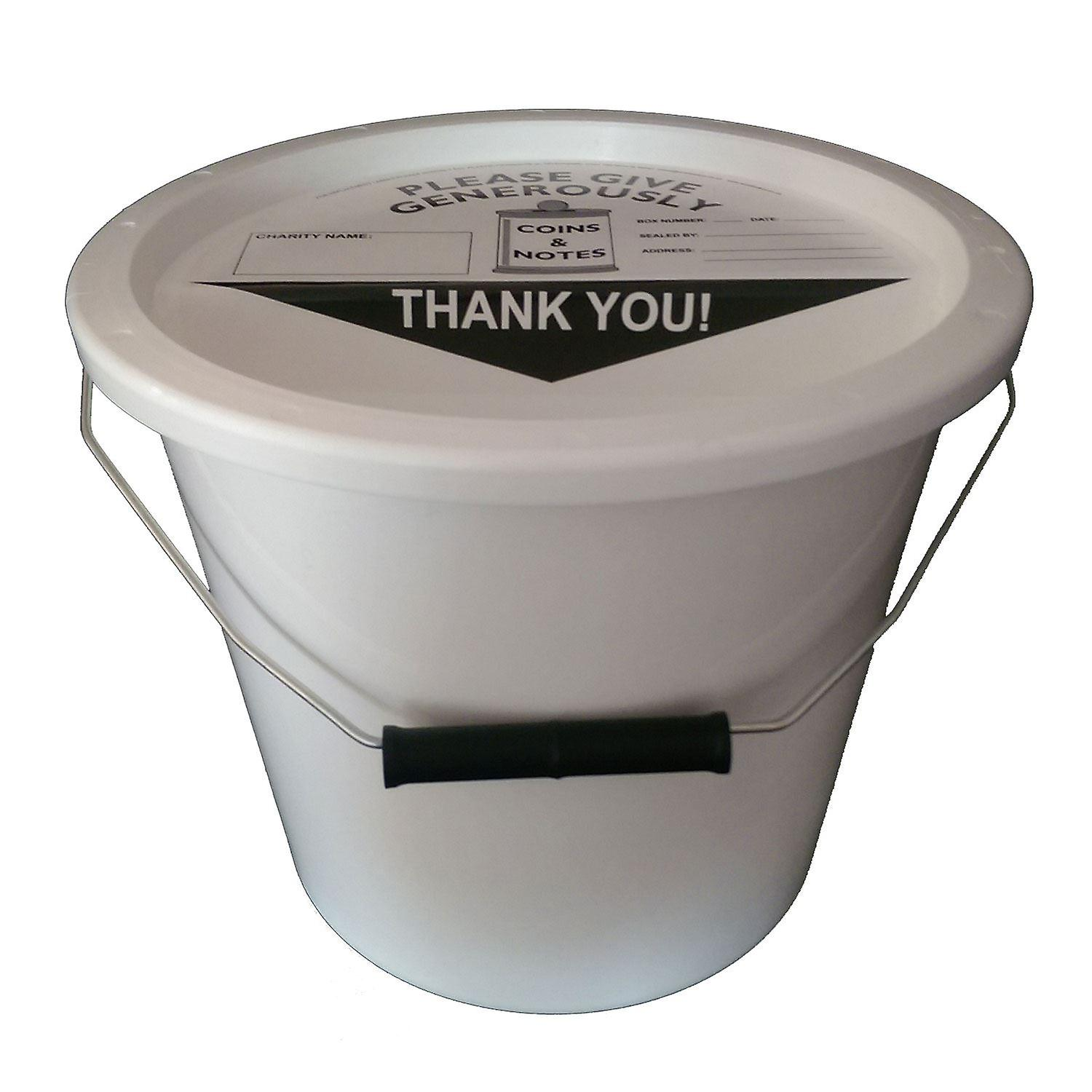 4 Charity Money Collection Buckets 5.7 Litres - White