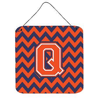 Buchstabe Q Chevron Orange und blau Wand oder Tür hängen Drucke