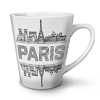 Paris City Design NEW White Tea Coffee Ceramic Latte Mug 12 oz | Wellcoda