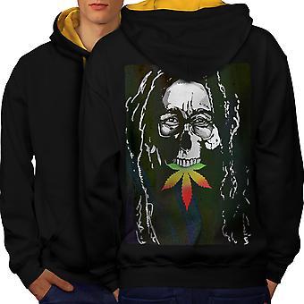 Kallo Marley rikkakasvien Rasta miesten musta (Gold Hood) kontrasti huppari takaisin | Wellcoda