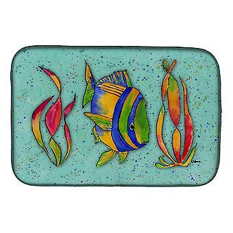 Carolines Treasures  8569DDM Tropical Fish on Teal Dish Drying Mat