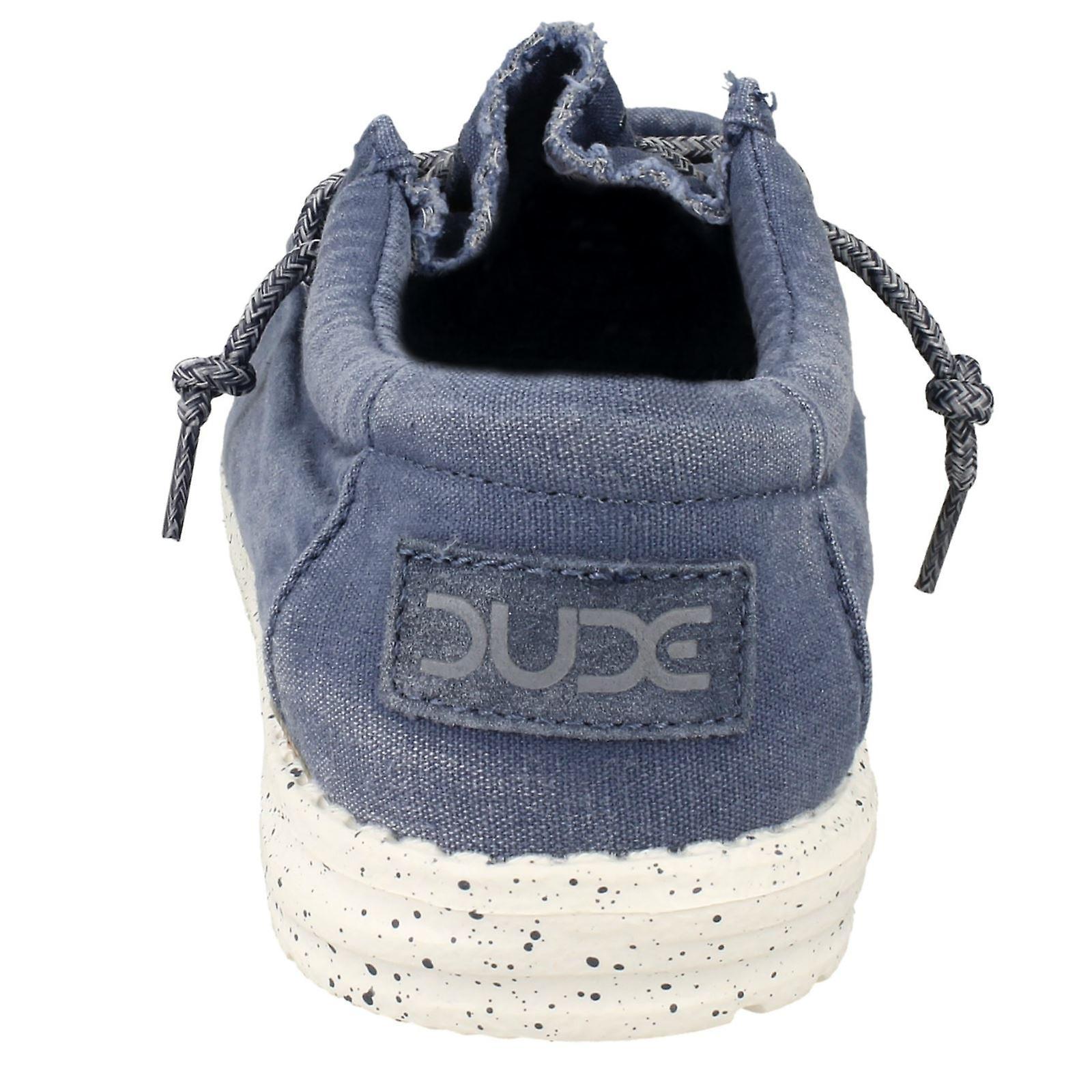 Mens Hey Dude Mokassin Schuhe Wally gewaschen Stahlblau Textil UK Größe 12 EU Größe 46 Größe US 13