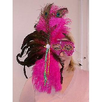 Feathered Mask Pink Sequin Mask With Full Plume Of Feathers