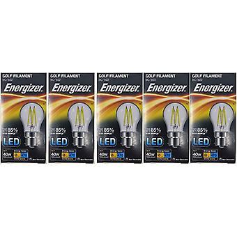 5 x Energizer à incandescence LED Golf BC ampoule B22 4W = 40W 470Lumen baïonnette blanc chaud Cap [classe énergétique A +]