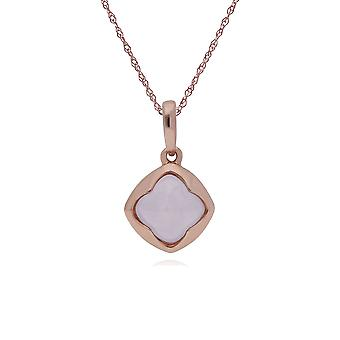 Geometric Sugarloaf Rose Quartz Diamond Prism Pendant Necklace in Rose Gold Plated 925 Sterling Silver 270P025002925