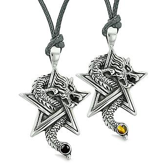 Courage Dragons Star Pentacle Amulet Love Couples Best Friends Tiger Eye Simulated Onyx Necklaces