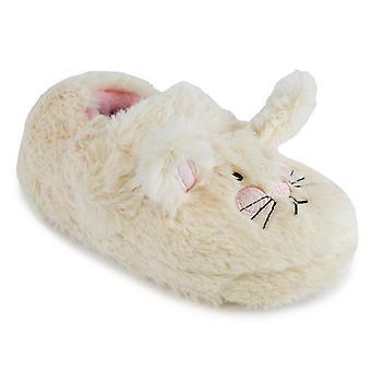 SlumberzzZ Kids Girls 3D Novelty Rabbit Embroidered Easy Access Faux Fur Slipper