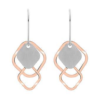 Orphelia srebro 925 kolczyk Bicolor kształtami diamentów - ZO-7391