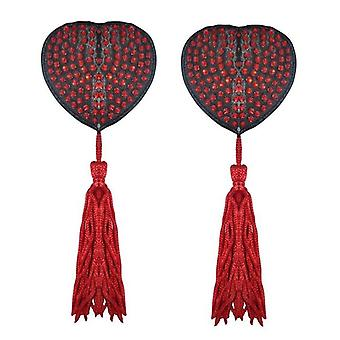 Diamante Heart Nipple Tassels - Red - Heart Shape