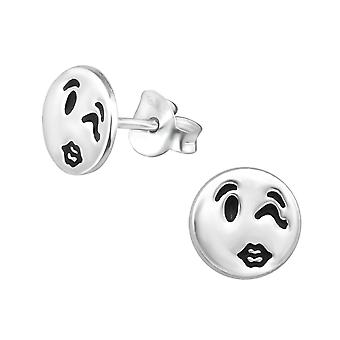 Wink Face - 925 Sterling Silver Plain Ear Studs - W30166x