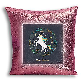 i-Tronixs - Unicorn Printed Design Rose Gold Sequin Cushion / Pillow Cover for Home Decor - 12