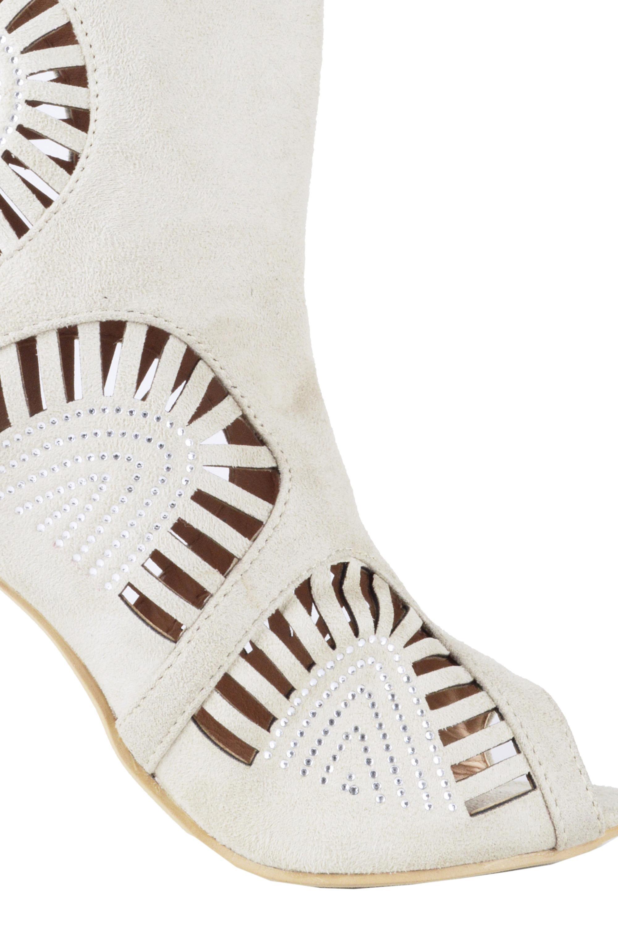 Lovemystyle Suede Laser Cut Stiletto heel Sandals In Nude