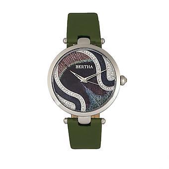 Bertha Trisha Leather-Band Watch w/Swarovski Crystals - Olive