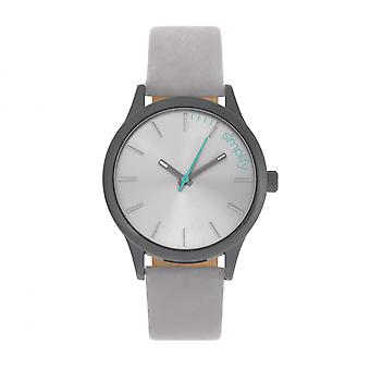 Simplify The 2400 Leather-Band Unisex Watch - Black/Grey