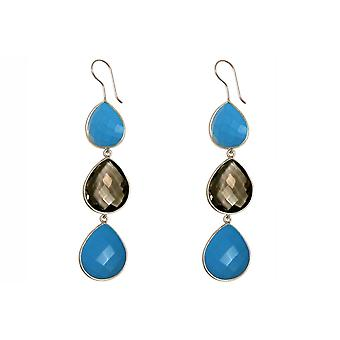 Gemshine earrings smoky quartz and blue turquoise drop 925 silver or gold plated