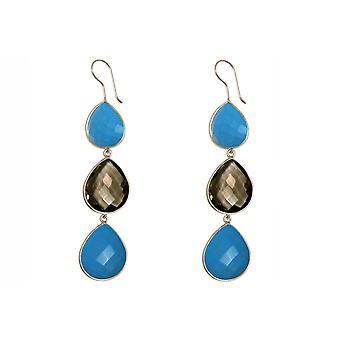 Gemshine oorbellen Rookkwarts en blauwe turkoois drop 925 zilver of verguld