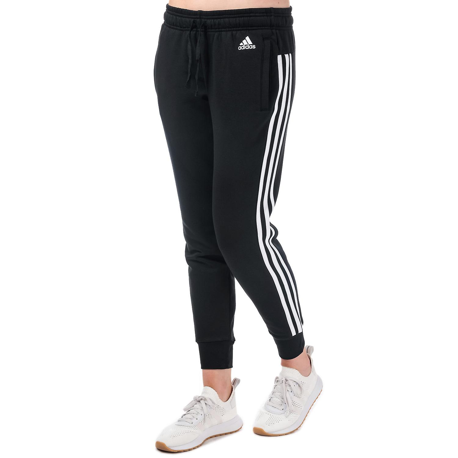 Womens adidas Essentials 3-Stripes Pants In Black / White