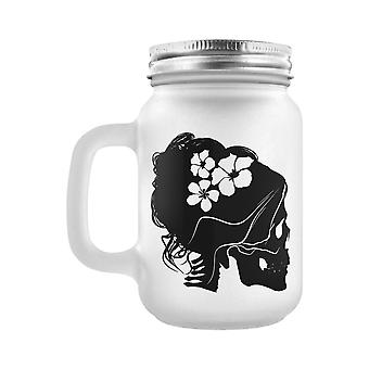 Grindstore Mrs Bones Frosted Mason Jar Drinking Glass