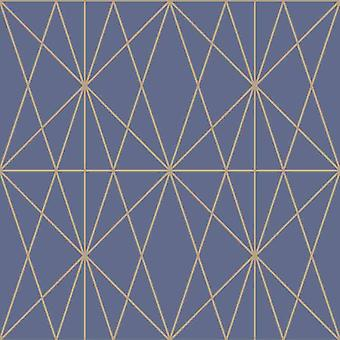 Web Geo Pattern Geometric Blue Gold Metallic Shimmer Wallpaper Modern Arthouse
