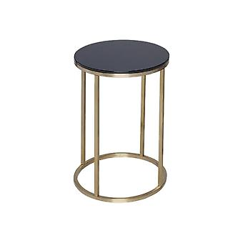 Gillmore Black Glass And Gold Metal Contemporary Circular Side Table