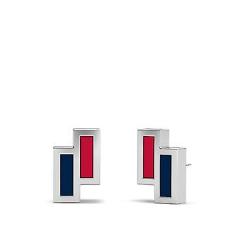 Washington Nationals Sterling Silver Asymmetric Enamel Stud Earrings In Red and Blue