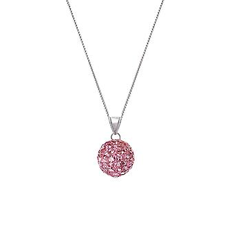 Eternal Collection Tarantella Pink Velvet Diamante Silver Tone Pendant Necklace