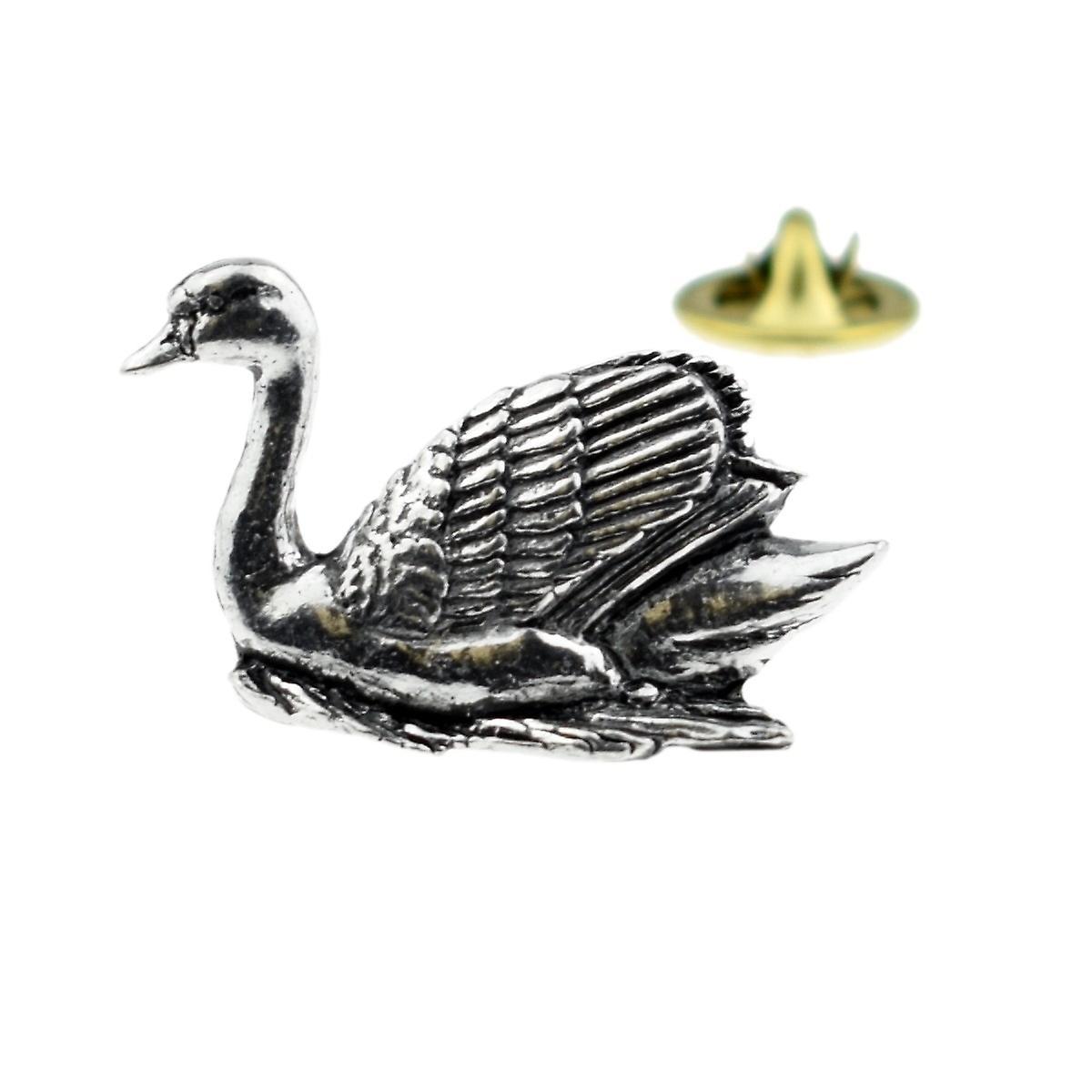 Swan English Pewter Lapel Pin Badge