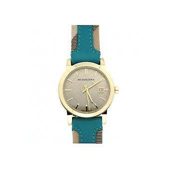 Burberry Bu9112 damas azul cuero reloj correa