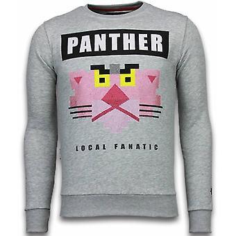 Panther-Rhinestone Sweatshirt-Grey