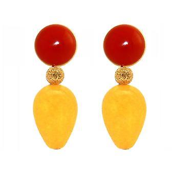 Gemshine earrings orange-red carnels yellow jade gemstone drops - Gold plated