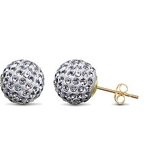 Jewelco London Ladies 9ct Yellow Gold White Round Crystal Disco Ball Stud Boucles d'oreilles, 10mm