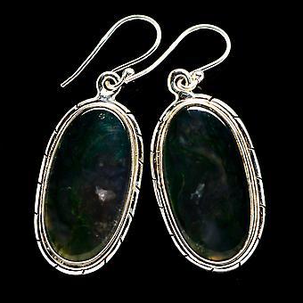 Green Moss Agate Earrings 1 3/4