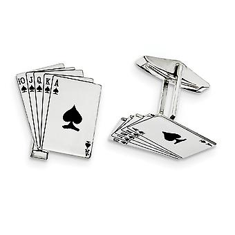 925 Sterling Silver Solid Enamel Polished Royal Flush Cuff Links Jewelry Gifts for Men - 3.0 Grams