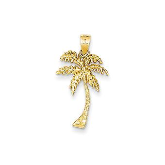 14k Yellow Gold Textured Polished Mini for boys or girls Palm Tree Pendant Necklace - .6 Grams