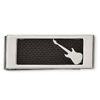Stainless Steel Polished Black Carbon Fiber Inlay Guitar Money Clip Jewelry Gifts for Men