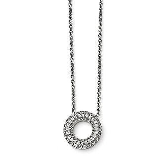 Acero inoxidable pulido círculo con Cubic Zirconias collar - 18,25 pulgadas