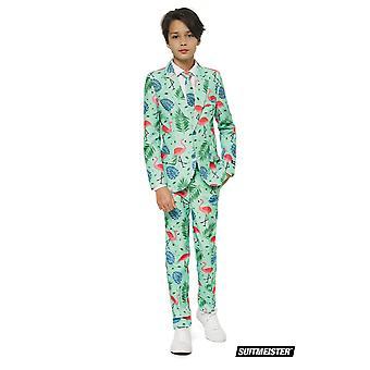 Tropische Flamingo zomer Kids pak pak Suitmaster Slimline Premium 3-delige