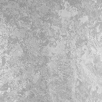 Muriva Ellen Silver Metallic Wallpaper Plain Texture Industrial Distressed
