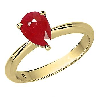 Dazzlingrock Collection 18K 9X7mm Pear Cut Ruby Solitaire Bridal Engagement Ring, Yellow Gold