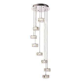 Endon Prisma LED 8 Light Cluster Pendant Chrome, Crystal Glass Détail 76485
